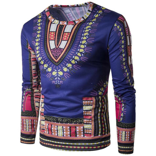 Mens Dashiki Traditional Thailand Style African Summer T-Shirt Blouse Tops