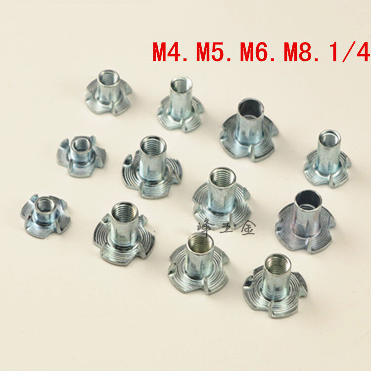 100 Pieces Metric M5 T Nuts Zinc Plated TEE Nuts 4 Prongs