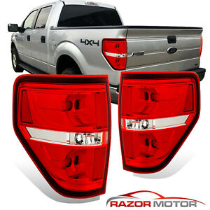 2009-2014-Red-Clear-Replacement-Brake-Tail-Lights-Pair-For-Ford-F150-F-150