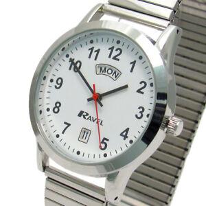 Ravel-Men-039-s-Day-Date-Watch-Expanding-Bracelet-Silvertone-0706-20-1EX
