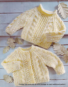 8a13abab9bdadc Baby Aran Cardigan   Sweater Pattern - Ropes   Popcorn - 16