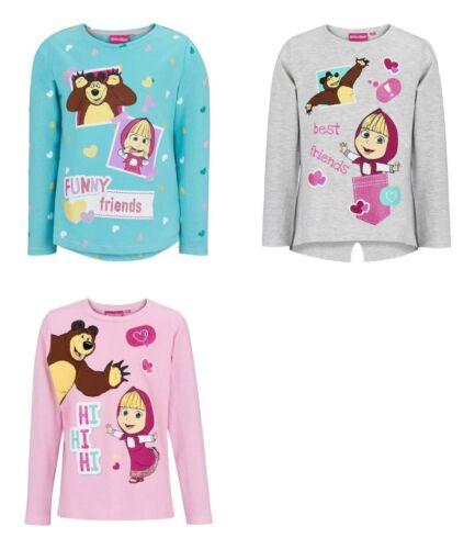 Masha and the Bear t-shirt long sleeve crew neck girls grey pink turquoise