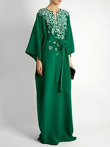 Green Embroidery Caftan Gown Dress