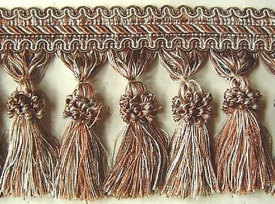 "Putty Light Brown 4/"" Tassel Fringe Trim in Light Gold"