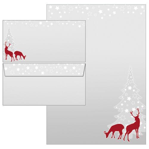 Weihnachten rotWild Reh grau rot Motivpapier Briefpapier 20 Blatt A4+20 Kuverts