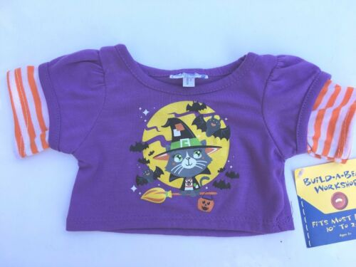 Purple Halloween Cat Tee Shirt Teddy Clothes NEW Build a Bear Clothing