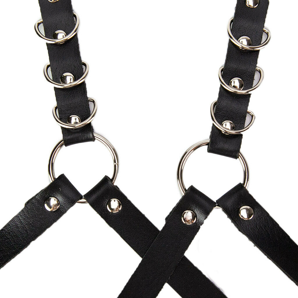 Black Leather Suspenders with Wings and Metal Riwets Black Leather Women Harness Black Leather Women Braces