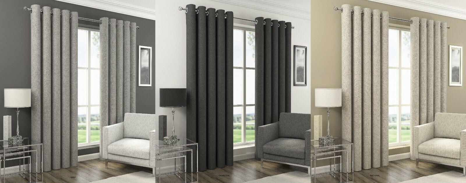 Tejido Lino Texturizado Llano Orion mirada cortinas Color negro apagón Ojal ringtop térmica