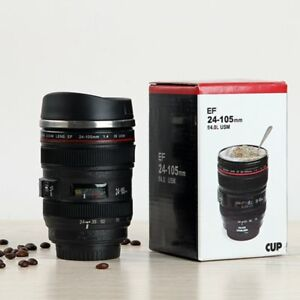 Camera-Lens-Cup-24-105-Coffee-Tea-Travel-Mug-Stainless-Steel-Thermos-amp-Lens-Lid