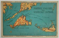 MA Postcard Martha's Vineyard & Nantucket Islands vintage linen map ferry routes