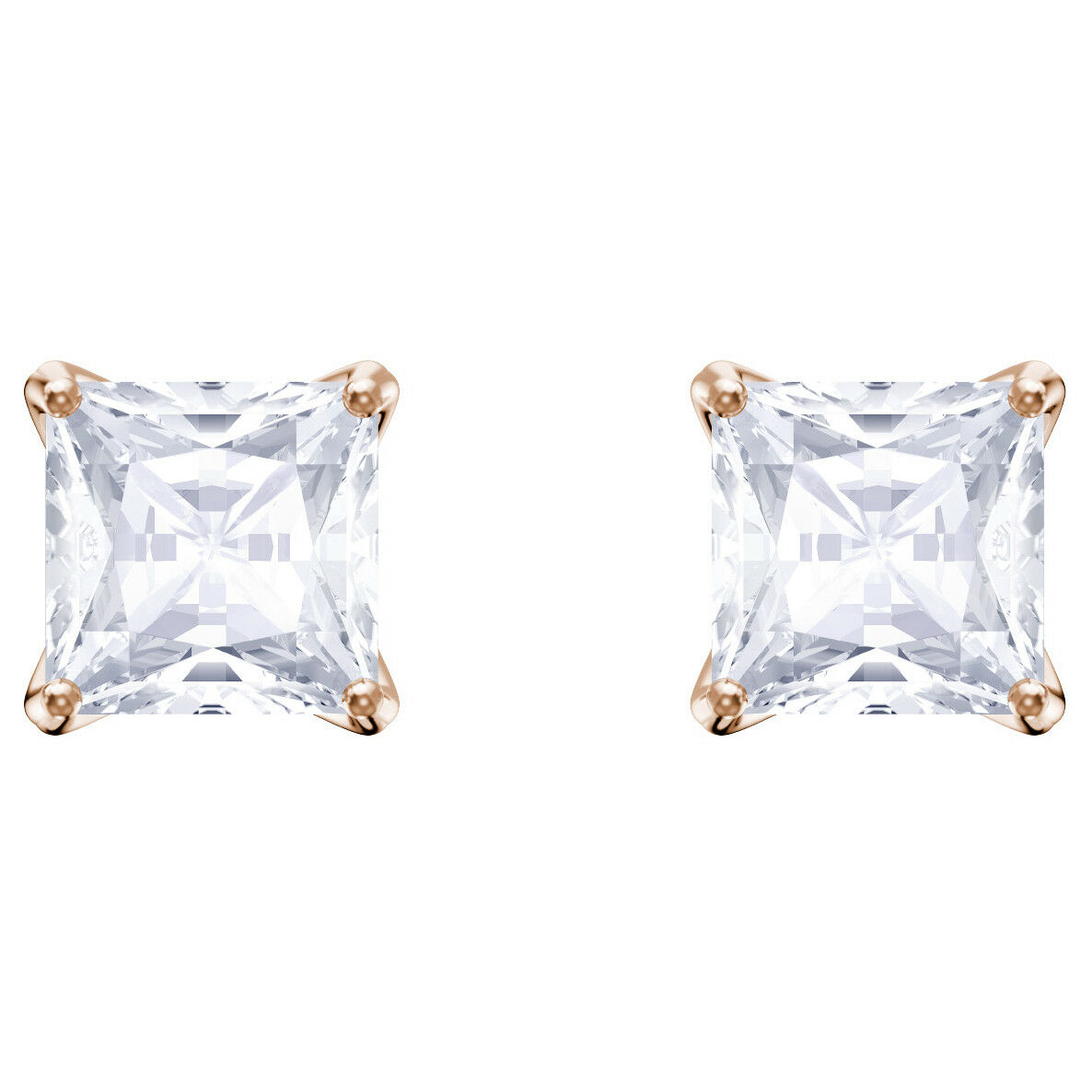 Swarovski 5431895 Attract Stud Pierced Earring, White, pink gold Plated, RRP 89
