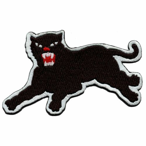 Panther White Border Iron On Embroidered Patch Left