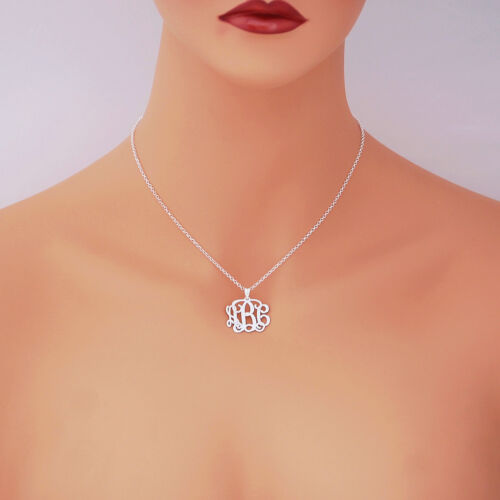 """Personalized Sterling Silver 3 Initial Monogram Pendant Necklace Jewelry 1/"""" SM31"""