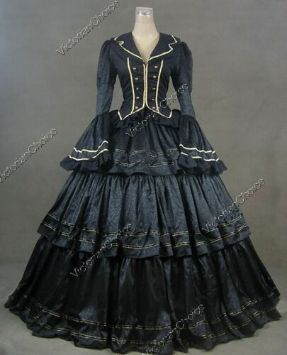 Victorian Costume Dresses & Skirts for Sale    Victorian Civil War Black Brocade Dress Gown Theater Steampunk Clothing V 188 L  AT vintagedancer.com