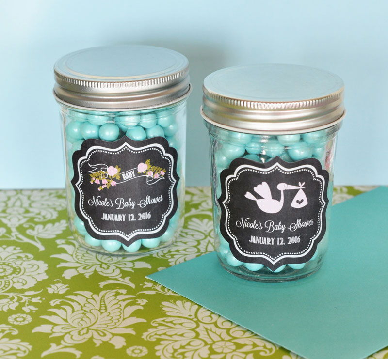 48 Personalized Chalkboard Baby Mini Mason Jars Baby Shower Candy Jar Favors