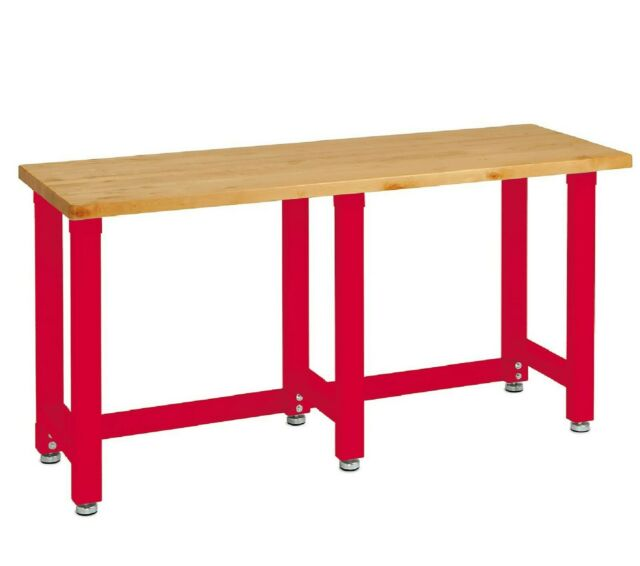 Red - Seville Classics Workbench Garage Wood Top Work Bench Kitchen Table  Desk