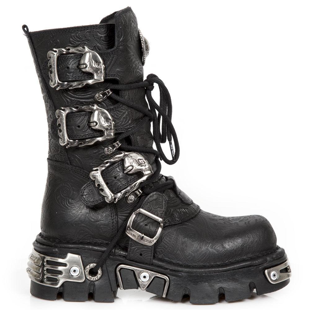 New Rock Nr M.391 S4 Negro-botas, Metálico, Unisex