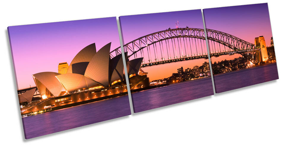 Sydney Harbour Skyline City TREBLE CANVAS WALL ART Box Frame Picture
