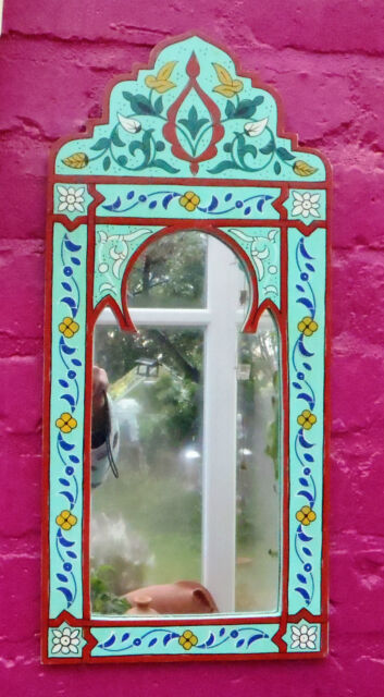 Beautifully Hand Painted Arched Mirror from Morocco * TURQUOISE *
