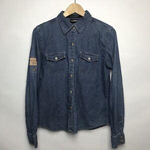 e0036957282 Harley Davidson Women s Blue Denim Long Sleeve Shirt Size L Button ...