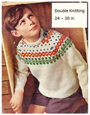 Child's DK Norwegian-Style Sweater Vintage Knitting Pattern 10093
