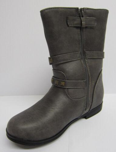 R5A Cutie H4R057 Girls Grey PU Buckle Trim Side Zip Boots