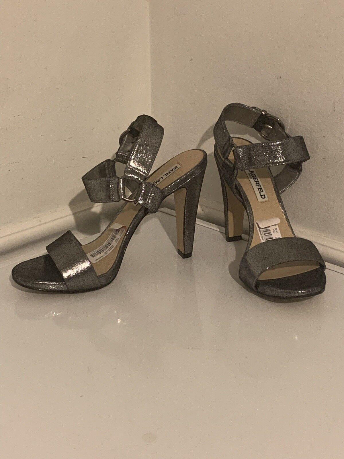 New KARL LAGERFELD PARIS Cieone Metallic Leather Ankle Strap Dress Sandals 10M
