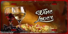 RED WHITE WINE LOVER ARTWORK PAINTING LICENSE PLATE, BY THE ARTIST made in USA