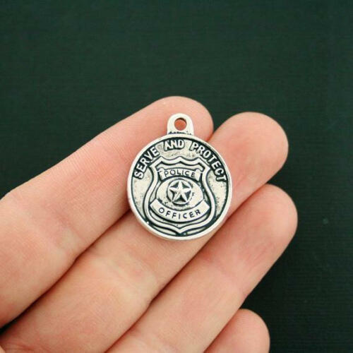 SC6282 2 Police Officer Charms Antique Silver Tone