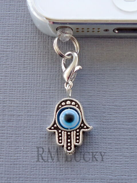 Hamsa Hand cell phone Charm Dust proof Plug ear jack For iPhone smartphone C117