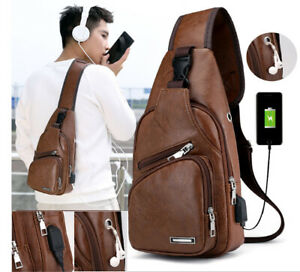 Men-039-s-Shoulder-Bag-Sling-Chest-Pack-USB-Charging-Sports-Crossbody-Handbag