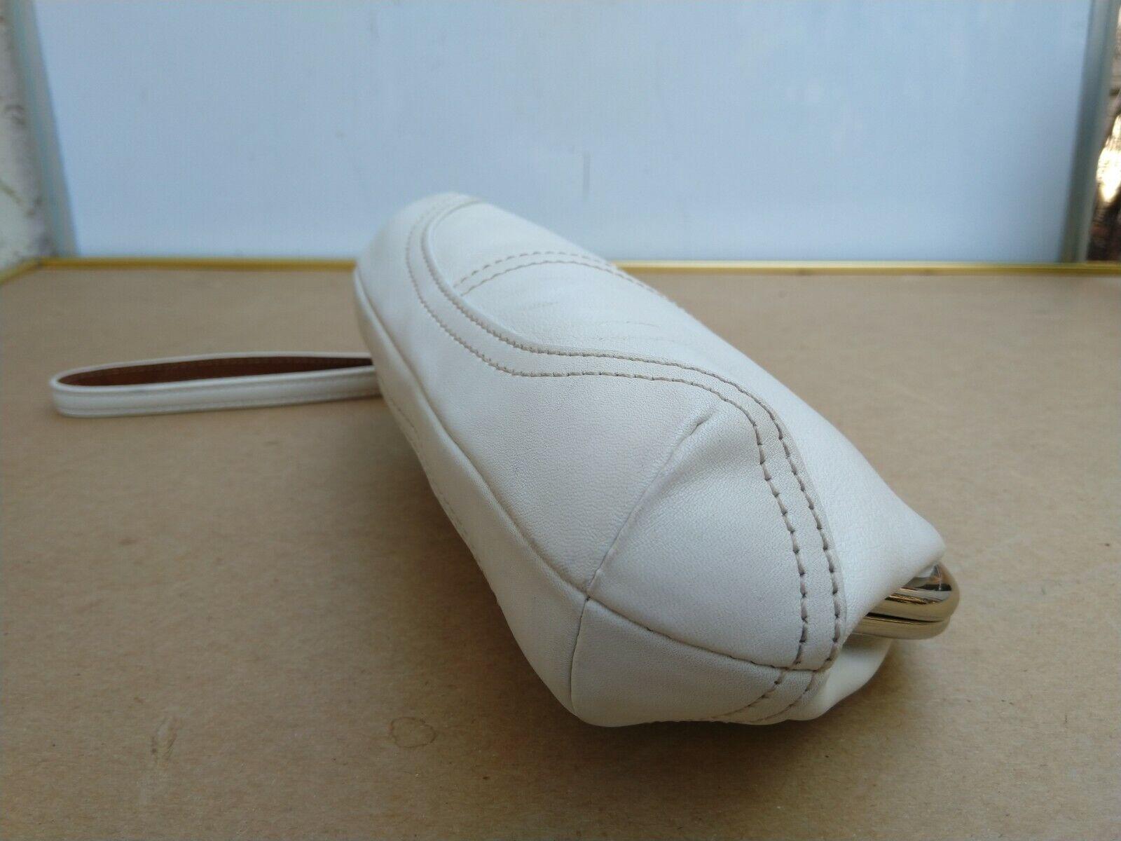 Coach Vtg Soho Kisslock Ivory Leather Framed Wris… - image 8