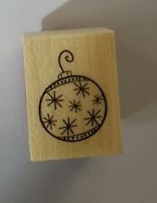 Wood Backed Rubber Stamp Hero Arts Merry Christmas Snowflake Bauble Decoration
