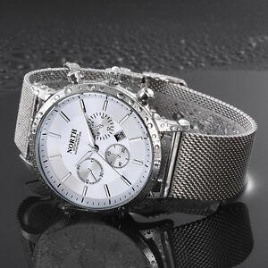 Mode-Herren-Edelstahl-Sportuhr-Armbanduhr-Date-Analog-Quarz-Luxus-Business-Uhren