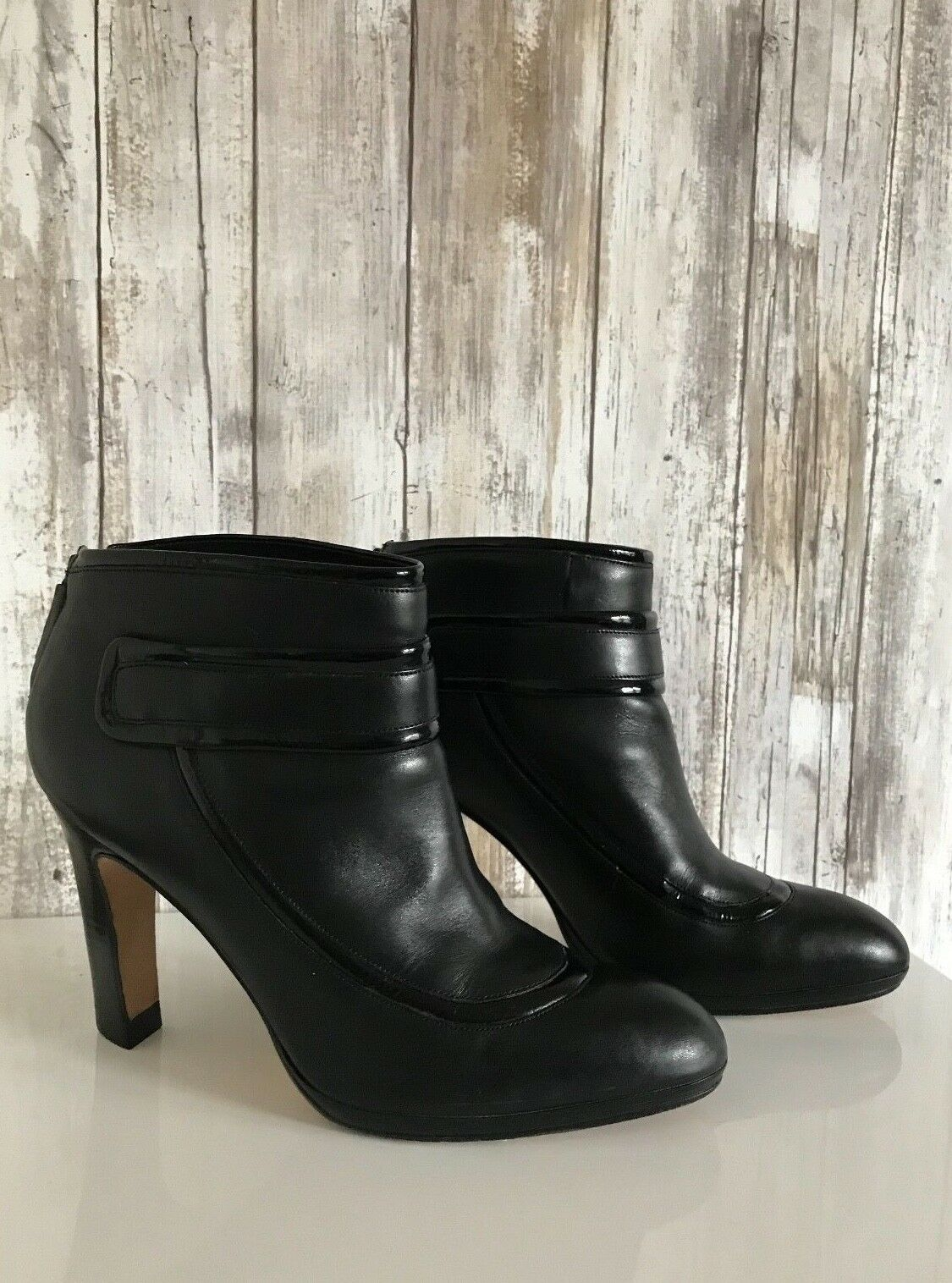 COLE HAAN Air Black  Patent Leather Bootie Bootie Bootie Ankle Heel Boots 7.5  RARE c2ba36