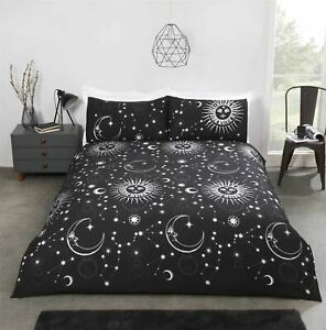 CELESTIAL SUNS MOONS STARS BLACK SILVER COTTON BLEND KING SIZE DUVET COVER