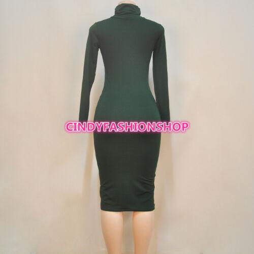New Women Vintage Bandage Long Sleeve Turtleneck Party Body con Evening Dress