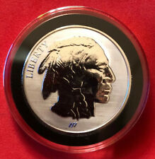 ASAHI BUFFALO REVERSE PROOF 1oz SILVER ROUND .999 FINE GEM BU IN COIN CAPSULE