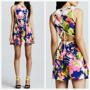NWT Parker Women's Dahlia Floral Lace-Back Silk Mini Dress Size Small $88