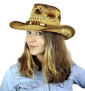 11a8b93c1ec Straw Cowgirl Hat Western Cowboy Rodeo Beige Beaded Wild Sun Summer ...