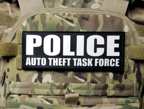 """3x8/"""" POLICE AUTO THEFT TASK FORCE Black Hook Back Morale Patch for Plate Carrier"""