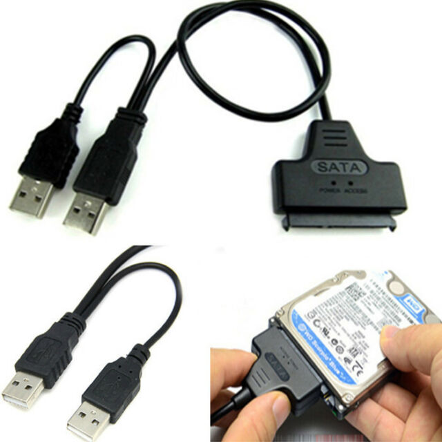 "USB 2.0 to SATA 7+15 Pin 22 Pin Adapter Cable for 2.5"" Hard Disk HDD Drive New"