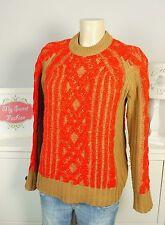 RAG & BONE Pullover Grobstrick Knit Braun Rot Gr. XS 34 (BD51)