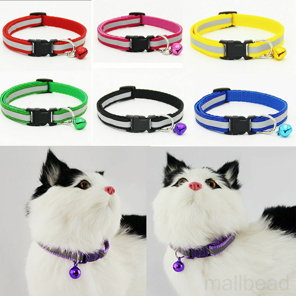 1PC Reflective Cat Collar with Bell Nylon Cute Cat Head Safety Buckle Pet Collar
