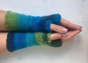 Mittens fingerlose gestrickte Handschuhe Handstulpen selbstgestrickt