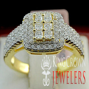 Sterling Silver Bridal Wedding Ring 14k Gold Finish Iced Out Ladies