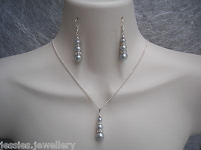 Pearl Diamante Necklace Earrings Jewellery Set Bridal Bridesmaid Wedding Gift 3S