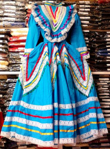 Womens Jalisco Dress With Super Wide Skirt Flow Folklorico Dance Handmade New