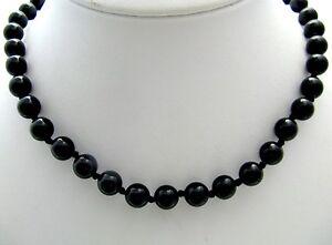 Halskette-Kette-Edelsteine-Onyx-Kugel-schwarz-Mineralien-59cm