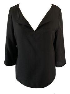 Comptoir Des Cotonniers Black Naline Blouse V-Neck Textured 3/4 Sleeves Size 12